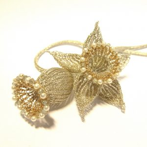 Flower Necklace Silver 18K Gold